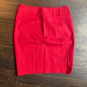 Red loft pencil skirt